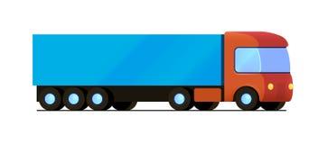 Vector o caminhão vermelho com o plano azul do reboque da carga Fotografia de Stock Royalty Free