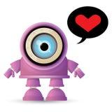 Vector o caráter amigável roxo do robô dos desenhos animados engraçados isolado no fundo branco Caçoa o brinquedo do robô 3d Ícon Fotos de Stock Royalty Free