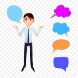 Vector o caráter do homem de negócio com bolhas coloridas da conversa e pense nuvens ilustração do vetor
