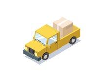 Vector o carro amarelo isométrico com caixas, carrinha do vagão, caminhões para a carga Fotos de Stock Royalty Free