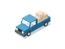 Vector o carro azul isométrico com caixas, carrinha do vagão, caminhões para a carga Imagens de Stock Royalty Free