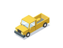 Vector o carro azul isométrico do vagão, carrinha, caminhões para o transporte da carga Fotografia de Stock Royalty Free