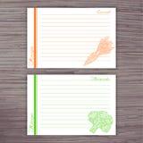 Vector o cartão alinhado da receita com os vegetais no fundo de madeira Cenoura, brócolis Imagem de Stock