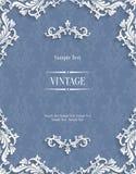 Vector o cartão cinzento do convite do vintage 3d com teste padrão floral do damasco Foto de Stock Royalty Free