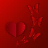 Vector o cartão da ilustração do coração e de borboletas vermelhos para o dia de Valentim Imagens de Stock Royalty Free