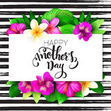 Vector o cartão de cumprimentos do dia de mães com rotulação da mão - dia de mães feliz - com flores tropicais - alstroemeria Imagem de Stock Royalty Free