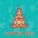Vector o cartão de Natal com árvore e ornamento, Xmas, ano novo Ca Fotografia de Stock Royalty Free