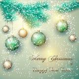Vector o cartão de Natal com ramo e bolas de árvore Fotos de Stock Royalty Free