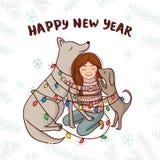 Vector o cartão do ano novo com fundo do branco da menina e dos cães Fotografia de Stock