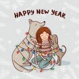 Vector o cartão do ano novo com menina e cães com neve Foto de Stock