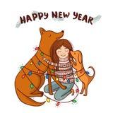 Vector o cartão do ano novo com menina e os cães marrons Imagem de Stock Royalty Free