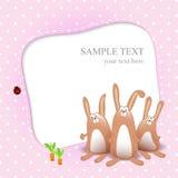 Vector o cartão do bebé com coelhos dos desenhos animados Imagens de Stock Royalty Free