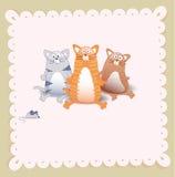 Vector o cartão do chuveiro de bebê com três gatos e ratos Imagens de Stock Royalty Free