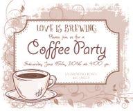 Vector o cartão do convite do partido do café, o quadro do vintage, o copo e as folhas tirados mão Imagem de Stock Royalty Free