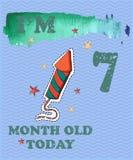 Vector o cartão do marco miliário do bebê para a menina ou o menino Hoje mim ` m ol de 7 meses ilustração stock