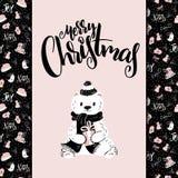 Vector o cartão do Natal com frase da rotulação da mão - Feliz Natal - e carregue-o no fundo da decoração do Natal ilustração do vetor