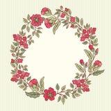 Vector o cartão do vintage com um ramalhete das flores da garatuja e o quadro para o texto no fundo listrado retro Fotografia de Stock