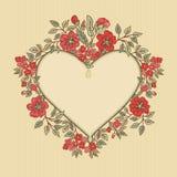 Vector o cartão do vintage com um ramalhete das flores do vermelho da garatuja e o quadro para o texto no fundo listrado retro Foto de Stock Royalty Free