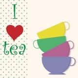 Vector o cartão do vintage da ilustração com o copo do chá Imagem de Stock