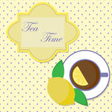 Vector o cartão do vintage da ilustração com o copo do chá Foto de Stock Royalty Free