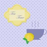 Vector o cartão do vintage da ilustração com o copo do chá Imagens de Stock