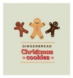 Vector o cartão retro do vintage da ilustração com cookies do pão-de-espécie Imagem de Stock Royalty Free