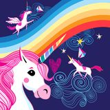 Vector o cartaz brilhante com um arco-íris e unicórnios ilustração do vetor