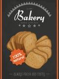 Vector o cartaz com um produto do pão em um estilo do esboço Imagens de Stock Royalty Free