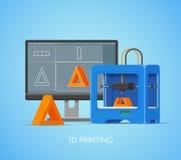 Vector o cartaz do conceito da impressão 3D no estilo liso Elementos e ícones do projeto A impressora industrial imprime objetos  ilustração do vetor