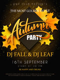 Vector o cartaz do partido do outono com rotulação, as folhas de bordo amarelas do outono, os ramos da garatuja e o rombo Foto de Stock Royalty Free
