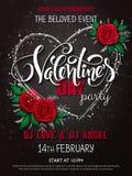 Vector o cartaz feliz do partido do dia de Valentim com rotulação, os botões cor-de-rosa e o quadro do coração Fotografia de Stock Royalty Free