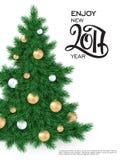 Vector o cartaz novo de 2017 cumprimentos do ano com número da rotulação da mão Imagem de Stock