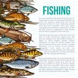 Vector o cartaz para a pesca ou o produto de peixes do mar imagens de stock