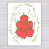 Vector o cartaz tirado mão com o frasco completo da pimenta Fotografia de Stock Royalty Free