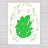 Vector o cartaz tirado mão com o frasco completo do pepino com texto no contexto de madeira Foto de Stock Royalty Free