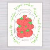 Vector o cartaz tirado mão com o frasco completo do tomate com texto no contexto de madeira Imagem de Stock