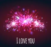 Vector o cartão com os fogos-de-artifício brilhantes coloridos dos corações Imagem de Stock