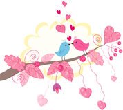 Vector o cartão do pássaro Imagem de Stock