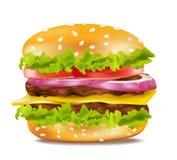 Vector o cheeseburger em um fundo branco ilustração royalty free