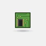 Vector o chip de computador do ícone, placa eletrônica, placa do computador é liso Fotografia de Stock Royalty Free