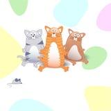 Vector o chuveiro de bebê com gatos e os pontos coloridos Fotografia de Stock