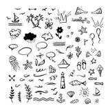 Vector o clipart desenhado à mão da garatuja no mar/oceano/tema do verão Fotos de Stock