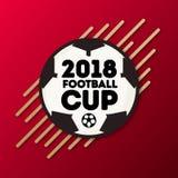 Vector o competiam 2018 do mundo do futebol do copo do futebol do mundo na bandeira de Rússia ilustração royalty free