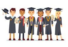 Vector o conceito com estudantes, graduado da graduação de faculdade ilustração stock