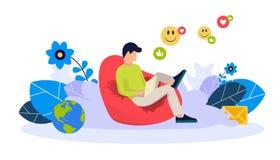 Vector o conceito da ilustração de apps e de serviços móveis Projeto liso criativo para a bandeira da Web, material de mercado ilustração stock
