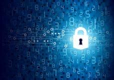 Vector o conceito da segurança do cadeado com tecnologia digital ilustração stock