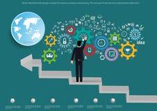 Vector o conceito de projeto liso da ilustração para a análise e o planeamento de negócio, o conceito de bandeiras da Web e ícone Foto de Stock Royalty Free