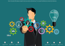 Vector o conceito de projeto liso da ilustração para a análise e o planeamento de negócio, o conceito de bandeiras da Web e ícone Fotografia de Stock