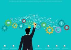 Vector o conceito de projeto liso da ilustração para a análise e o planeamento de negócio, o conceito de bandeiras da Web e ícone Fotos de Stock