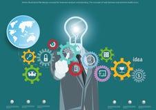 Vector o conceito de projeto liso da ilustração para a análise e o planeamento de negócio, o conceito de bandeiras da Web e ícone Imagens de Stock Royalty Free